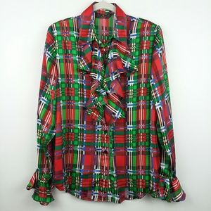 Vintage Ugly Christmas Blouse Frilly Plaid Present